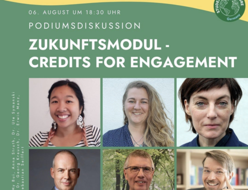 heute live: Das Zukunftsmodul – Credits for Engagement! Podiumsdiskussion der Students for Future